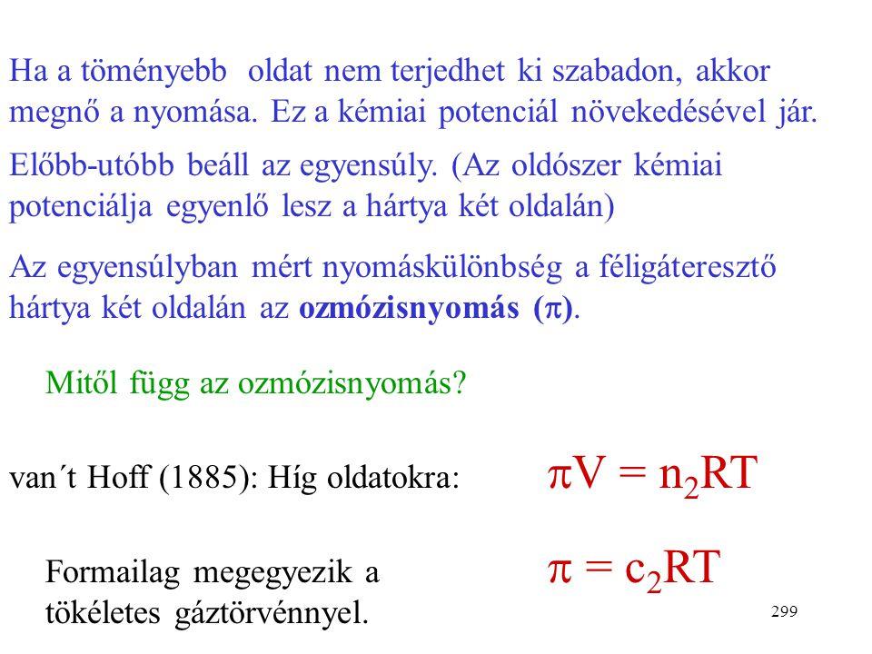 """298 Ozmózisnyomás Ozmózis jelensége: Két különböző koncentrációjú oldatot """"féligáteresztő hártya"""" választ el, amely az oldószer- molekulákat átengedi,"""