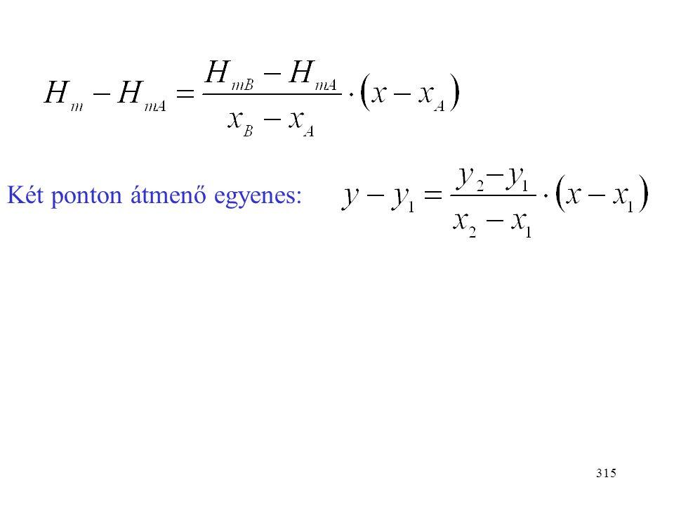 314 HmHm x  10 A B xBxB xAxA H mA H mB t1t1 t2t2 Anyagmérleg: (n-n B )x A +n B x B = nx (n-n B )H mA +n B H mB = nH m n B (H mB - H mA ) = n(H m - H