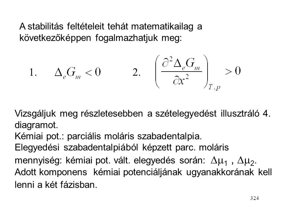 323 0 eGmeGm x 2  0 eGmeGm 0 eGmeGm 0 eGmeGm korlátlan elegyedés nincs elegyedés korlátozott elegyedés szételegye- dés A moláris elegyedési s