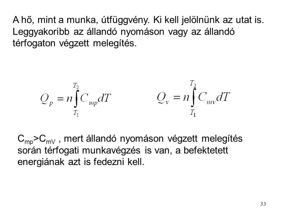 32 A) Melegítés-hűtés: Q = c · m ·  T c = fajlagos hőkapacitás (fajhő) [J/kg·K] Víz c = 4.18 kJ/kg·K Q = C m · n ·  T C m = moláris hőkapacitás (mól