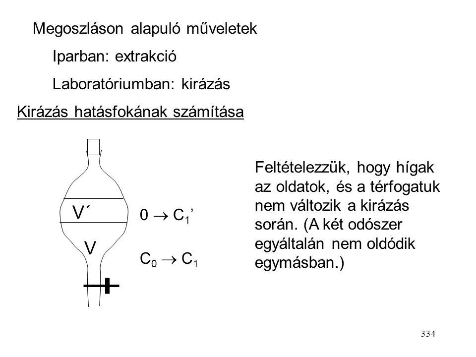 333 azaz K: megoszlási állandó (adott oldószerek és oldott anyag esetén csak a hőmérséklettől függ). Híg oldatok esetén (Henry-tartomány) az aktivitás