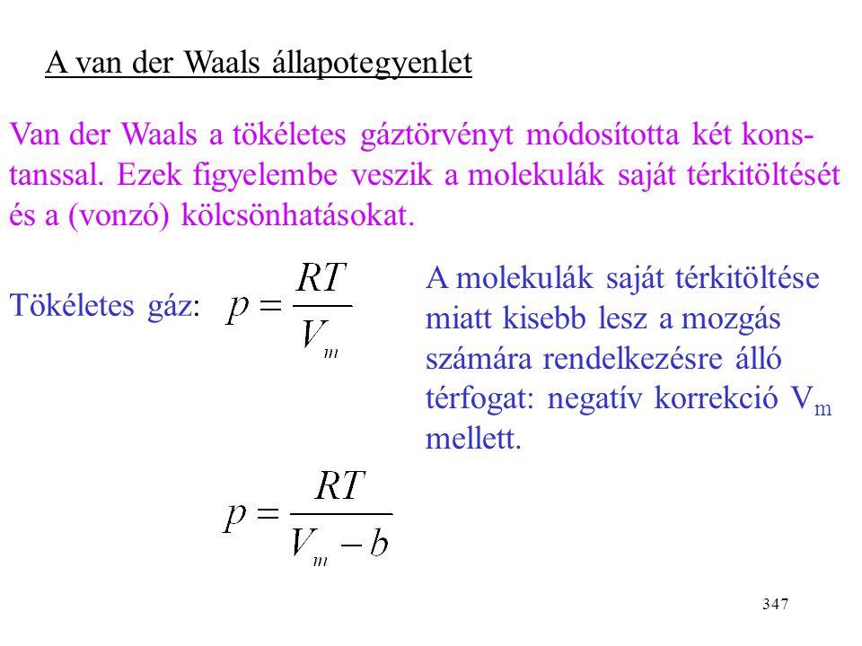 346 0 E pot r vonzás taszítás kis nyomás Két molekula közötti potenciális energia a távolság függvényében