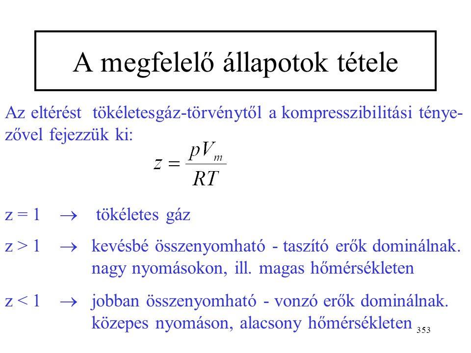 352 Viriál állapotegyenlet második harmadik negyedik viriál- koefficiens Lényegében egy, a koncentráció (1/V m ) függvényében felírt hatványsor. V m =