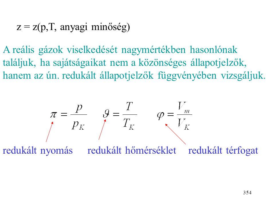 353 A megfelelő állapotok tétele Az eltérést tökéletesgáz-törvénytől a kompresszibilitási ténye- zővel fejezzük ki: z = 1  tökéletes gáz z > 1  kevé