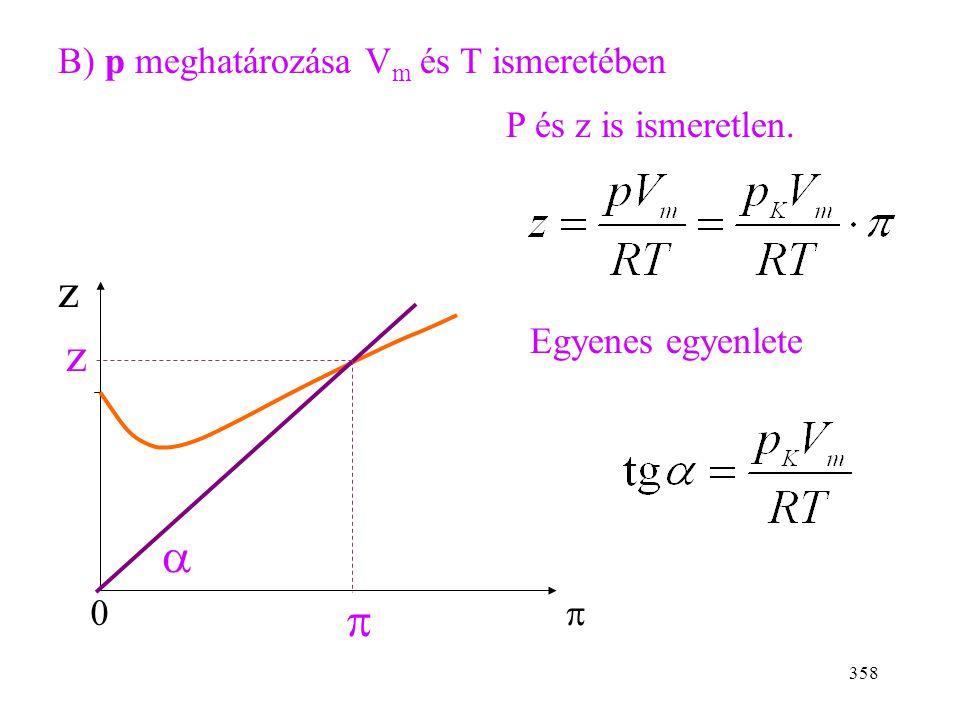357 Minden görbe  =0-nál z=1-be fut be (tökéletes gáz). Kétféle feladat: A) V m meghatározása p és T ismeretében z 0  1.  = T/T k, kiválasztjuk a m
