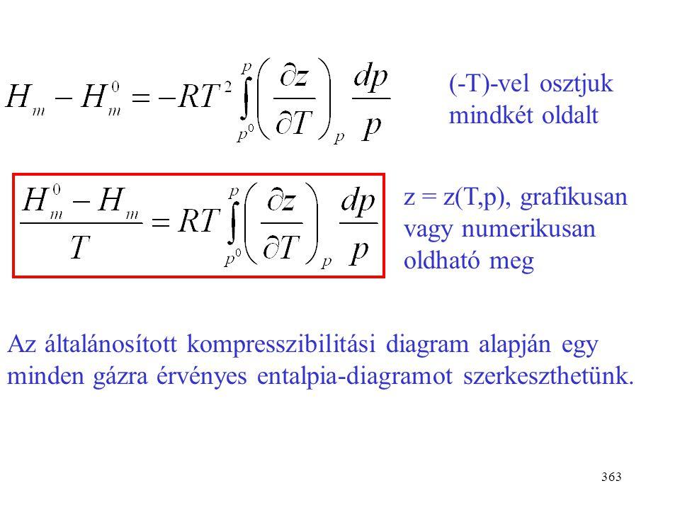 362 R és p kihozható a differenciálás jele elé. Szorzatfüggvény deriváltja: (uv)´=u´v+uv´ Az integrandusz: Ezt kell integrálni p 0 -tól p-ig