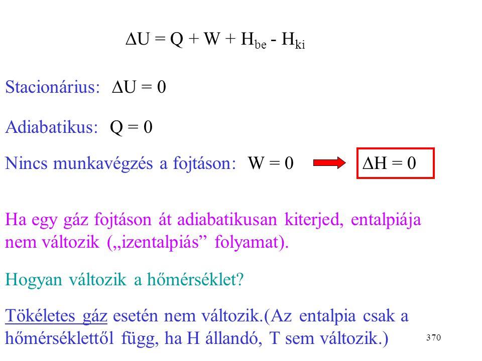 369 Joule és Thomson kísérlete P 1, T 1 P 2, T 2 rendszer vattadugó (fojtás) hőszigetelés dugattyú A fojtásra mint nyitott rendszerre írjuk fel az I f