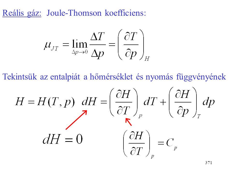 370  U = Q + W + H be - H ki Stacionárius:  U = 0 Adiabatikus: Q = 0 Nincs munkavégzés a fojtáson: W = 0  H = 0 Ha egy gáz fojtáson át adiabatikusa