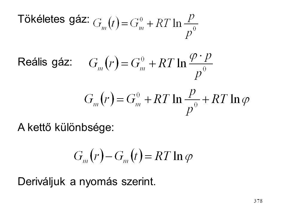 377 A fugacitás olyan mennyiség, amellyel a nyomást helyettesítve a tökéletes gáz kémiai potenciáljának (moláris szabadentalpi- ájának) számítására le