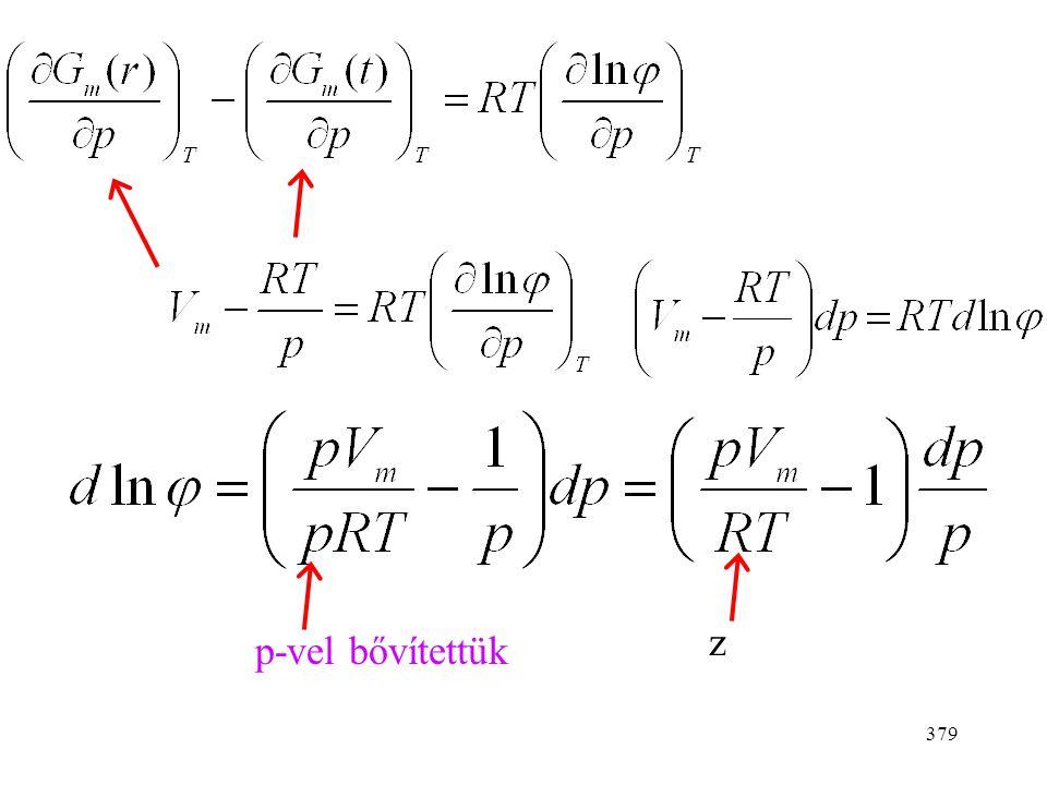 378 Tökéletes gáz: Reális gáz: A kettő különbsége: Deriváljuk a nyomás szerint.