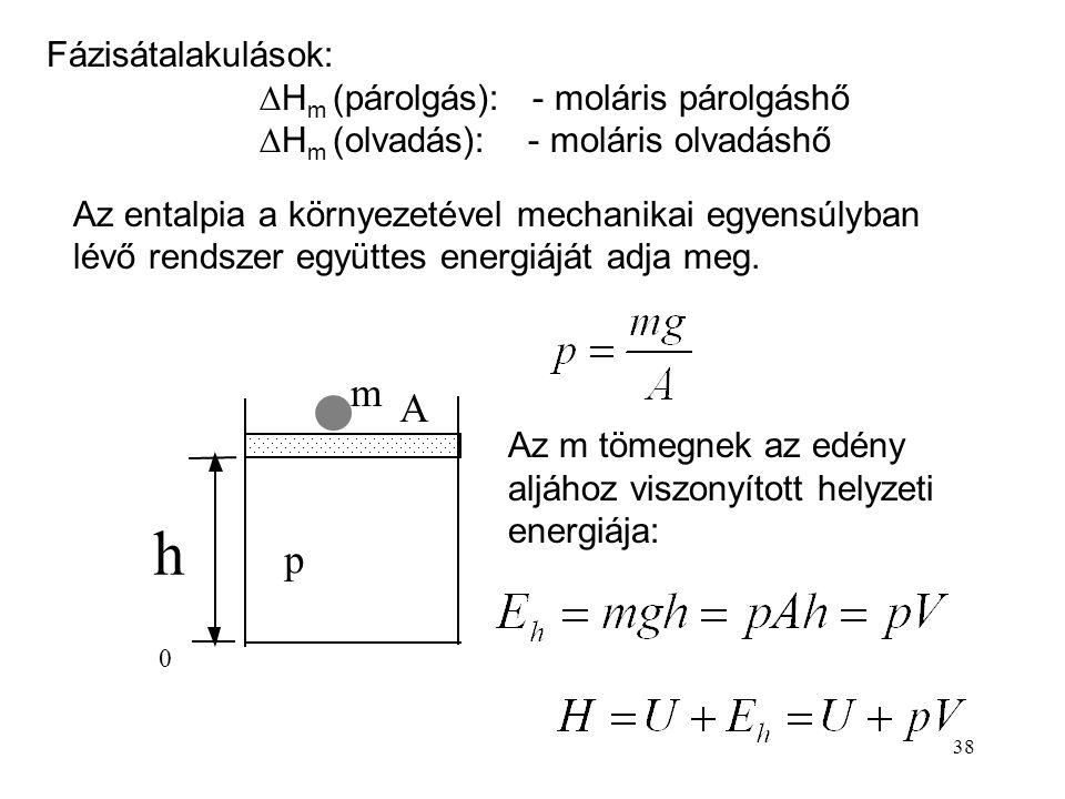 37 Izobár folyamatban (ha nincs egyéb munka) az entalpia- változás a hővel egyenlő. Az entalpia-változás számítása izobár melegítés ill. hűtés esetén: