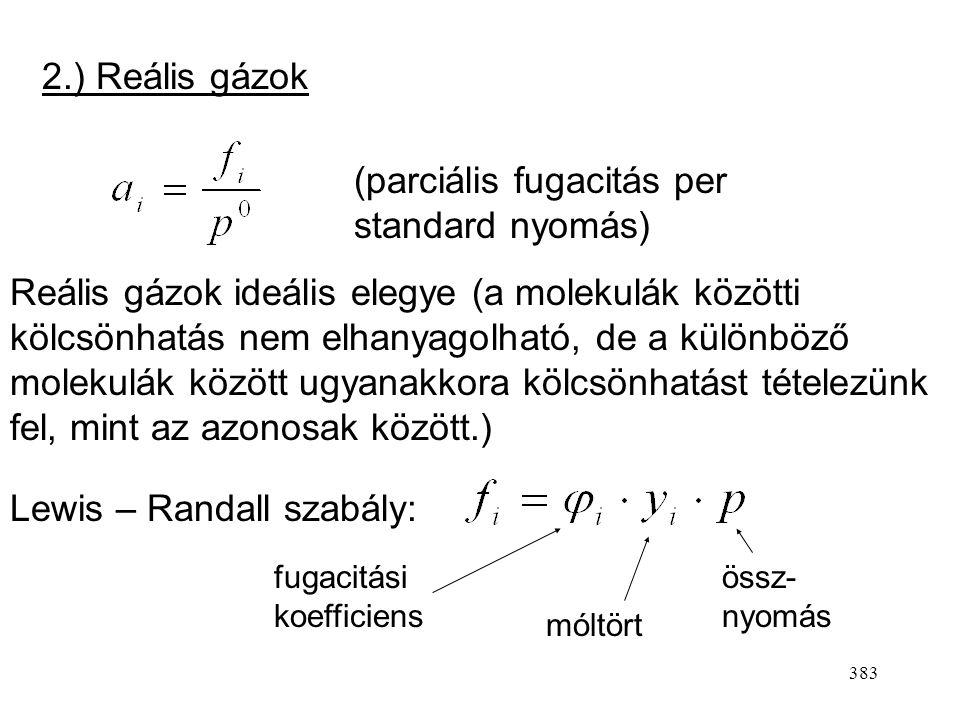 382 Aktivitások és standard állapotok Általában így írjuk fel a kémiai potenciált: Standard kémiai potenciál Aktivitás (mindig dimenziómentes) 1.) Tök