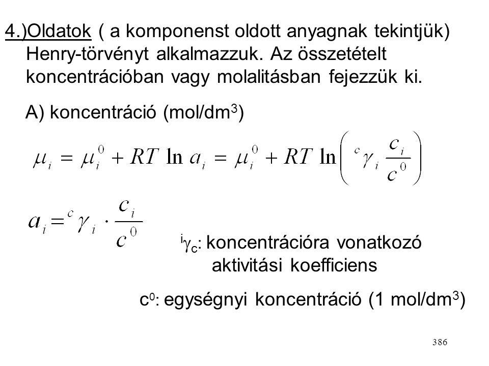 385 3.)Folyadék-elegyek (a komponenst oldószernek tekintjük) Raoult-törvényt alkalmazzuk Standard állapotx i  1 x  i  1 a i  x i p 0 nyomású tiszt