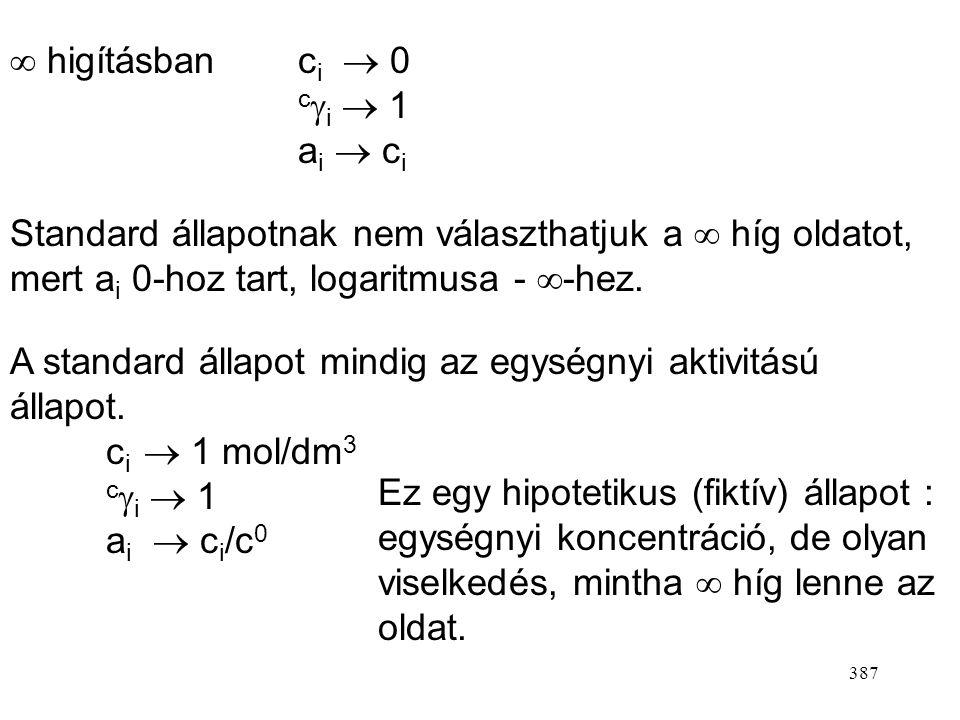 386 4.)Oldatok ( a komponenst oldott anyagnak tekintjük) Henry-törvényt alkalmazzuk. Az összetételt koncentrációban vagy molalitásban fejezzük ki. A)