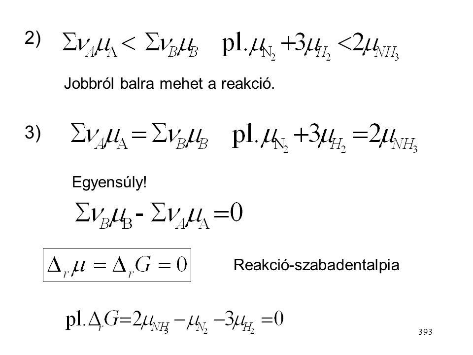 392 Kvantitatív tárgyalás 3 eset lehetséges az összetételtől függően 1) Balról jobbra mehet a reakció, mert ez jár G csökkenésével