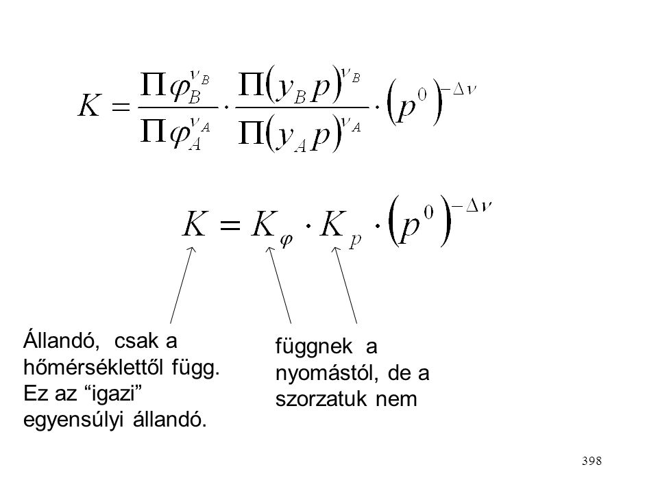 397 K p is állandó, mivel (p 0 ) -  adott reakcióra állandó, de lehet dimenziója:  nyomás  . Pl. Pa –1/2, bar –1/2 (az előbbi reakcióra) Számérték