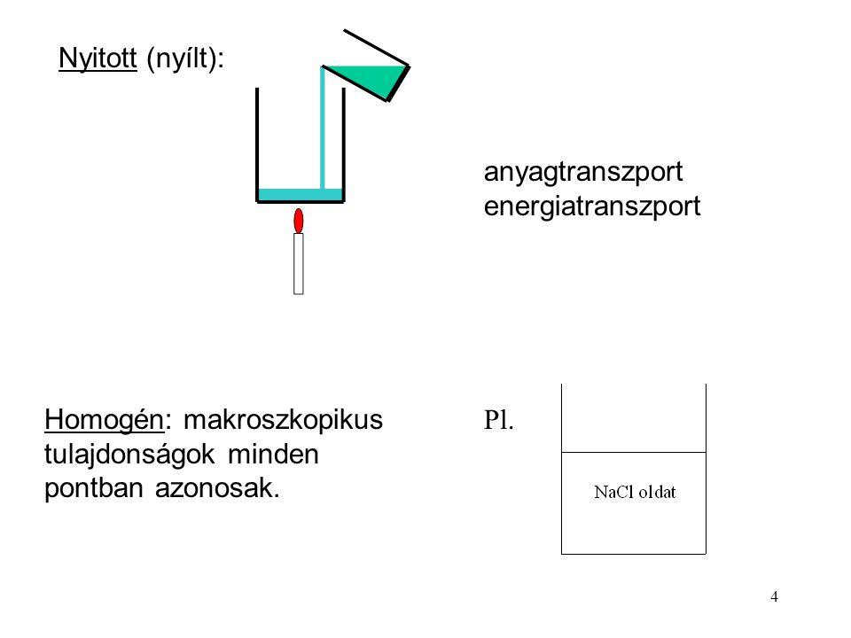 3 Elszigetelt: sem anyag, sem energia nem lép át a falon. szigetelés Zárt: energia átmegy a falon, anyag nem. a) állandó térfogat b) változó térfogat