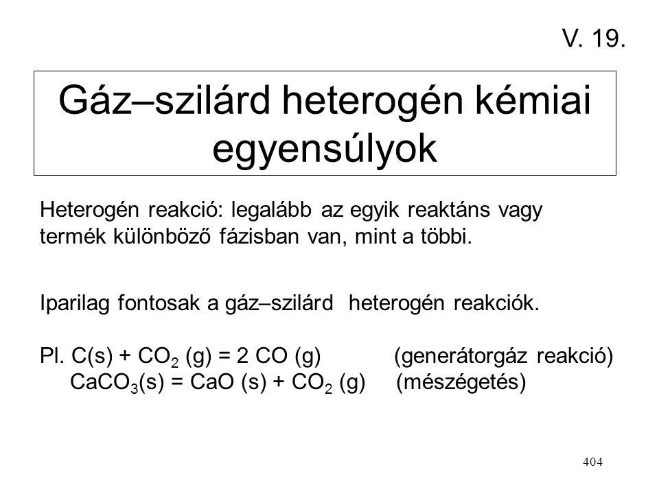 403 Térfogat-csökkenéssel járó reakciókat (  < 0 ) nagy nyomáson célszerű lefolytatni. Térfogat-növekedéssel járó reakciókat (   0 ) kis nyomáson v