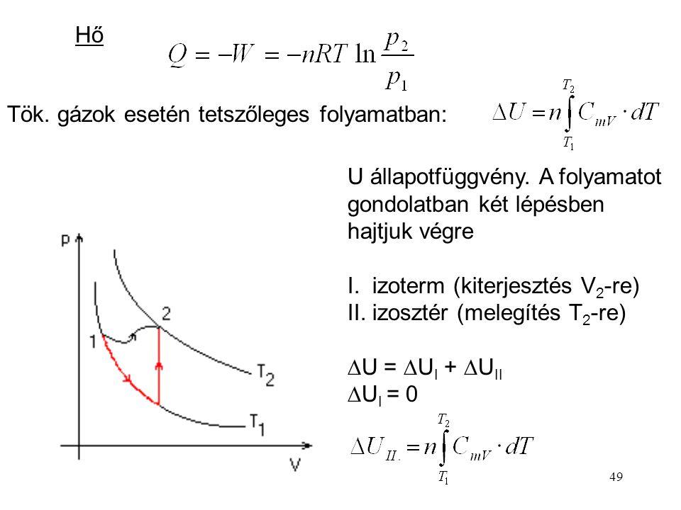 48 Izoterm Térfogati munka: Boyle-Mariotte törvény:  U = 0 Q = -W  H = 0