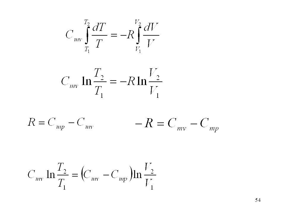 53 Az adiabata egyenletének levezetése Itt vezetjük be azt a feltételt, hogy a folyamat reverzibilis (tökéletes gáz) Integráljuk a kezdeti (1) és a vé