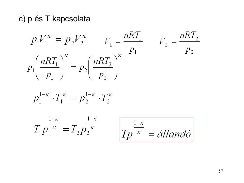 56 P és V, ill. p és T kapcsolatának megállapításához a tökéletes gáz állapotegyenletét használjuk fel (pV = nRT). b) p és V kapcsolata