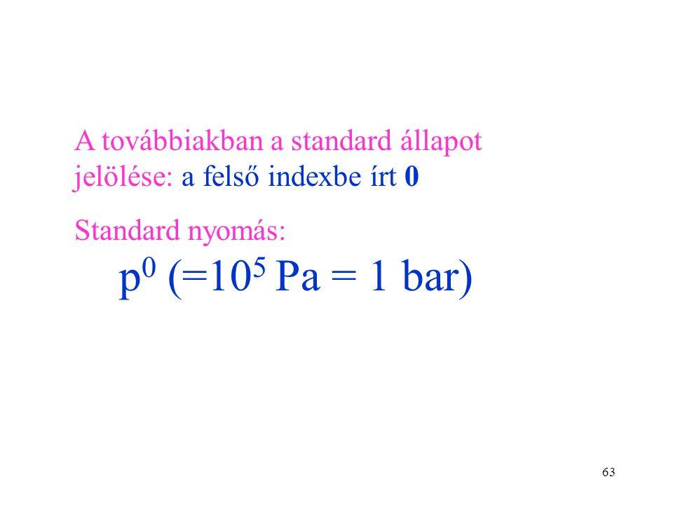 62 Standardizálás során rögzítjük a nyomást és a koncentrációt. A standard reakcióhő reakcióegyenlet által definiált mennyiségű átalakulás során elnye