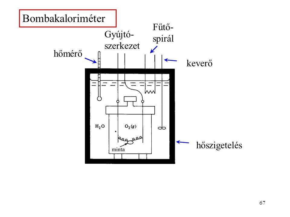 66 A reakcióhő mérése A reakcióhő mérésére használt eszköz a kaloriméter. Bombakaloriméter: elsősorban égéshő mérésére alkalmas. Az anyagot nyomásálló