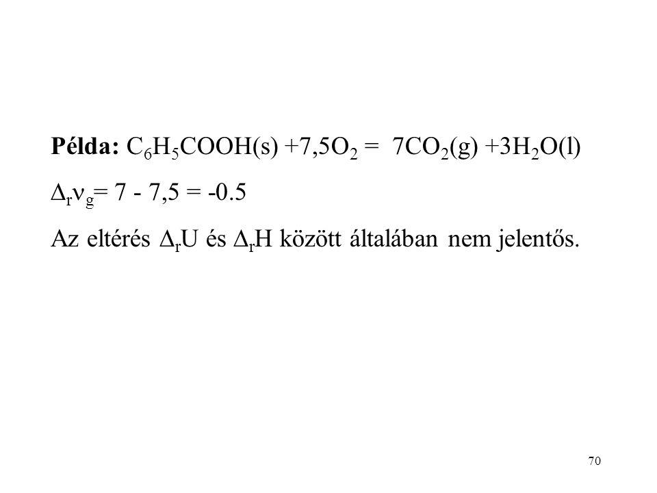 69 A bombakaloriméterben  r U-t mérünk, mert a térfogat állandó. H = U +pV  r H =  r U +  r (pV) A pV szorzat elsősorban a gáz halmazállapotú anya