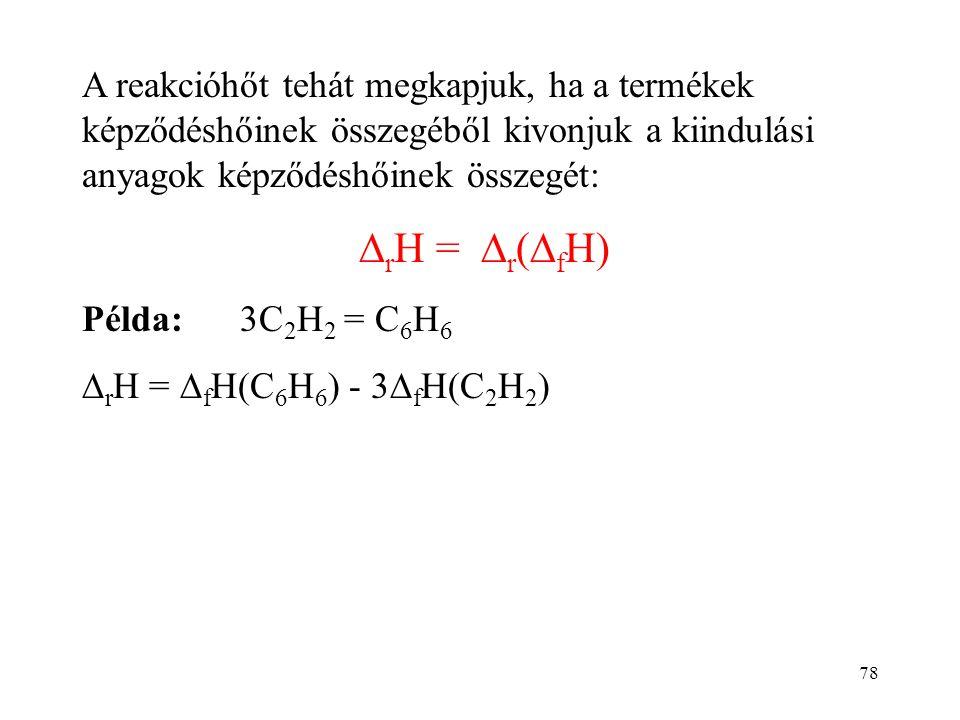 77 Reakcióhő számítása képződéshőkből: Képzeletben a kiindulási anyagokat először elemeire bontjuk (a képződés fordítottja), majd az elemekből összera