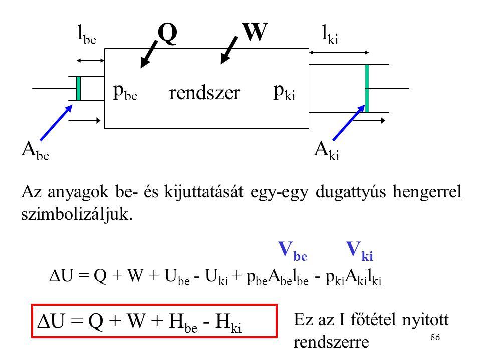 85 Nyílt rendszer A belépő és kilépő anyagok energiát visznek magukkal (U be - U ki ). A mozgatásuk is energia-felhasználással jár. (a bejuttatás ener