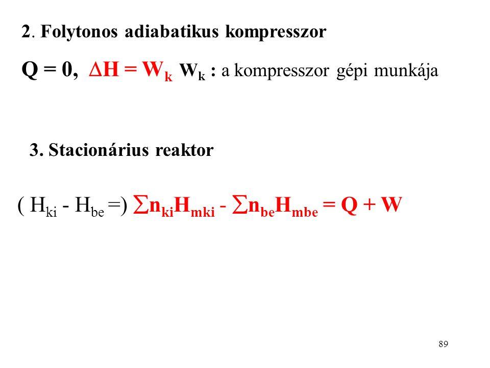 88  H = Q + W Ha nincs reakció, H ki - H be az áthaladó anyag entalpia- változása: Három fontos példa, amely a műszaki gyakorlatban előfordul: 1. Foj
