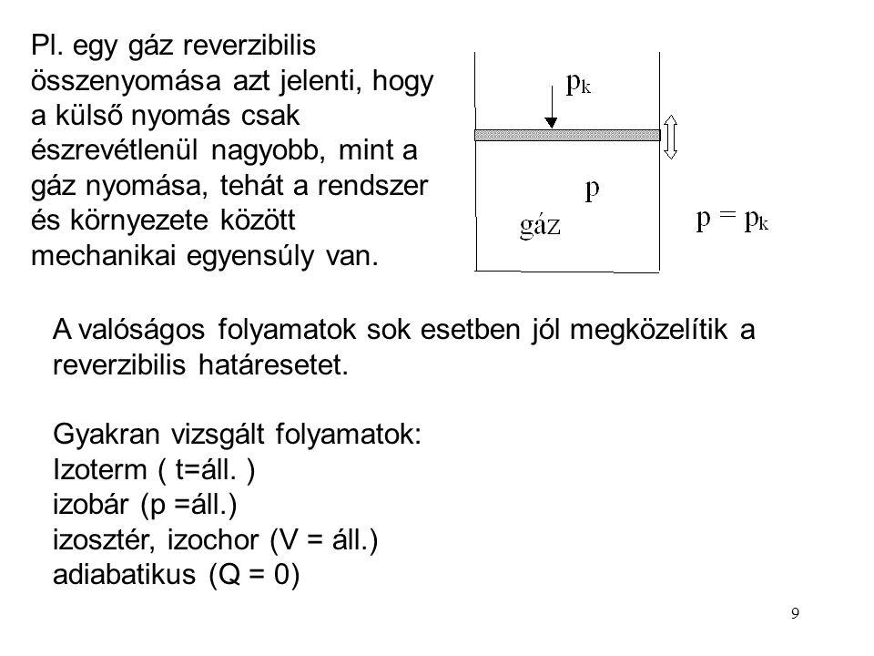 8 A rendszer termodinamikai egyensúlyban van, ha az állapothatározók egyike sem változik. Egyensúlyban nem játszódnak le makroszkopikus folyamatok. Ne