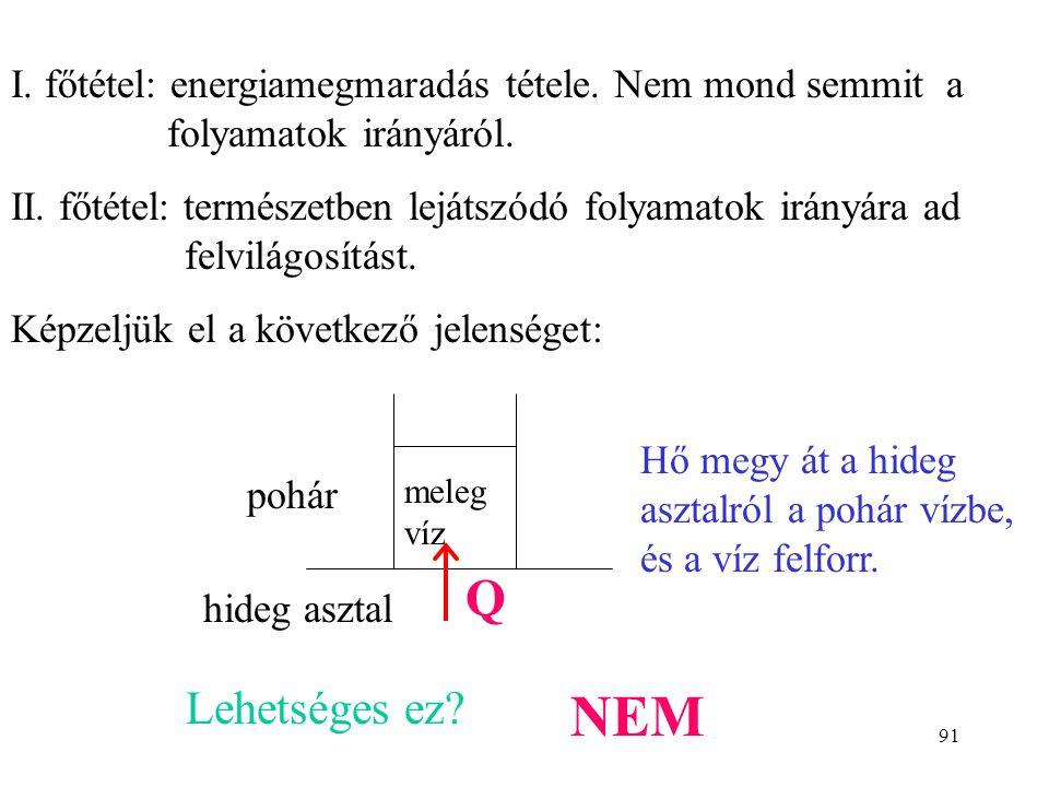 90 A TERMODINAMIKA II. FŐTÉTELE Az entrópia termodinamikai definíciója