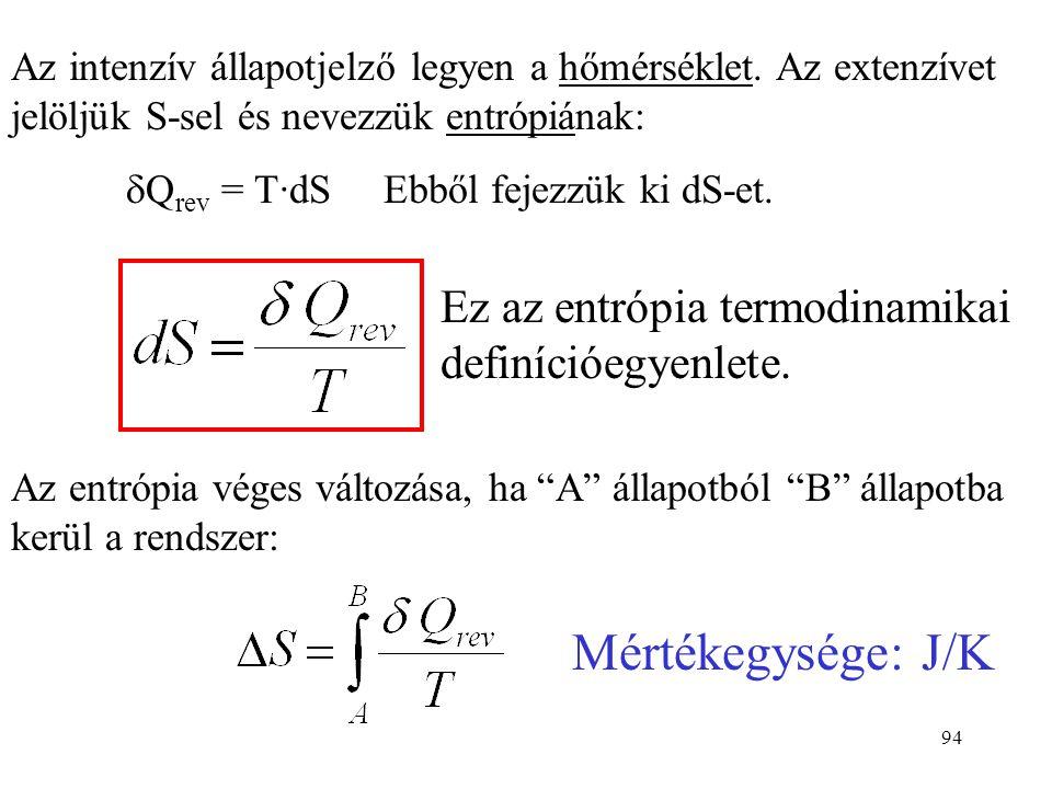 93 Az entrópia definíciójához induljunk ki az I főtételből: dU=  W +  Q Érvényes reverzibilis és irreverzibilis folyamatokra is. Reverzibilis folyam