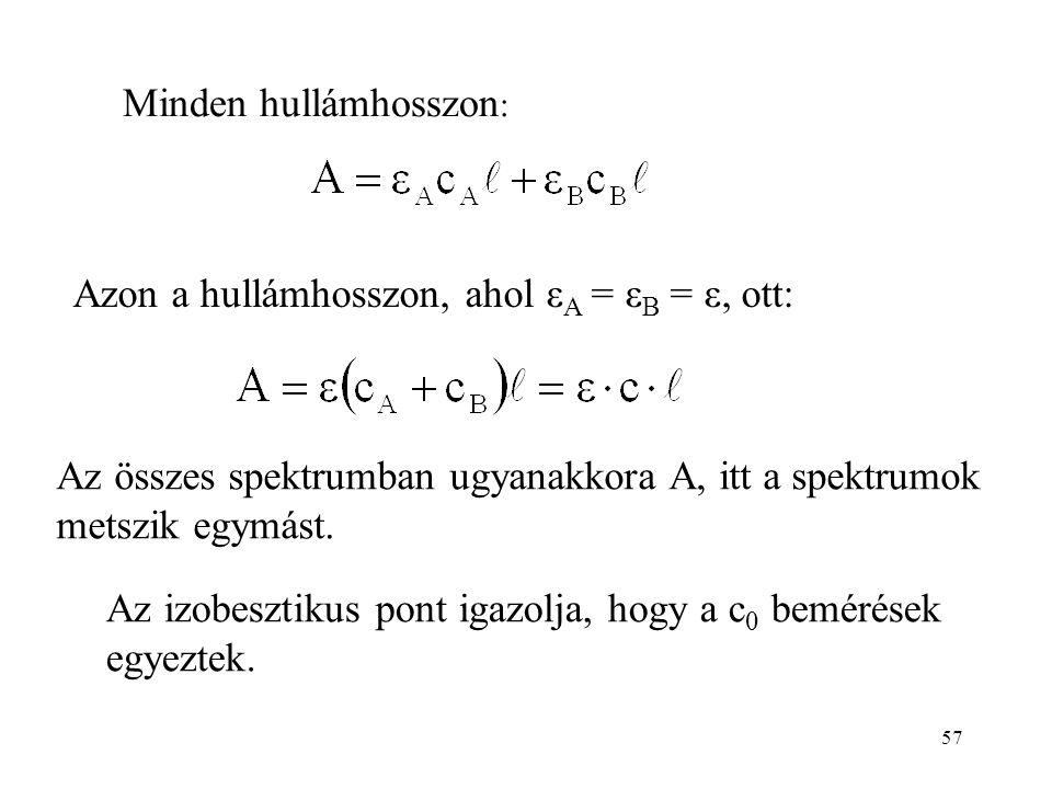 57 Minden hullámhosszon : Azon a hullámhosszon, ahol ε A = ε B = ε, ott: Az összes spektrumban ugyanakkora A, itt a spektrumok metszik egymást. Az izo