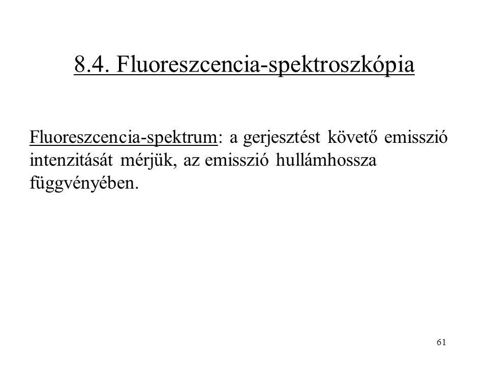 61 8.4. Fluoreszcencia-spektroszkópia Fluoreszcencia-spektrum: a gerjesztést követő emisszió intenzitását mérjük, az emisszió hullámhossza függvényébe