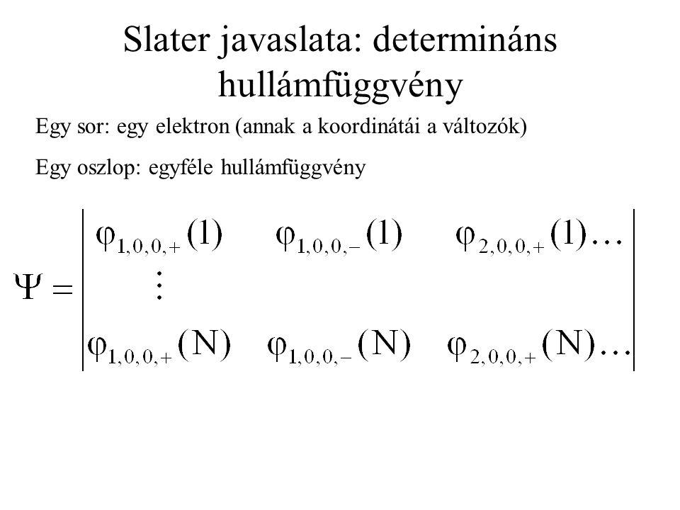 Slater javaslata: determináns hullámfüggvény Egy sor: egy elektron (annak a koordinátái a változók) Egy oszlop: egyféle hullámfüggvény