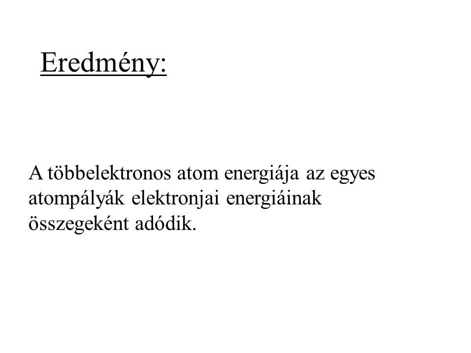A többelektronos atom energiája az egyes atompályák elektronjai energiáinak összegeként adódik. Eredmény:
