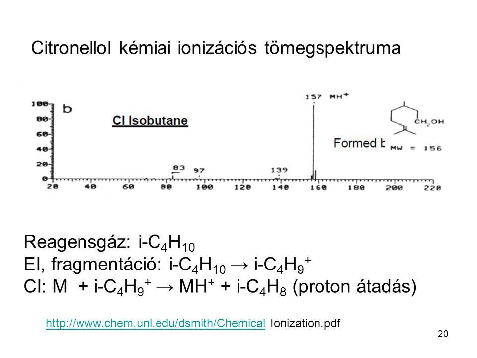 20 Citronellol kémiai ionizációs tömegspektruma Reagensgáz: i-C 4 H 10 EI, fragmentáció: i-C 4 H 10 → i-C 4 H 9 + CI: M + i-C 4 H 9 + → MH + + i-C 4 H 8 (proton átadás) http://www.chem.unl.edu/dsmith/Chemicalhttp://www.chem.unl.edu/dsmith/Chemical Ionization.pdf