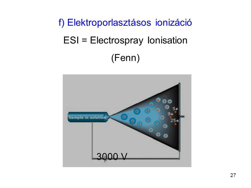 f) Elektroporlasztásos ionizáció ESI = Electrospray Ionisation (Fenn) 3000 V 27