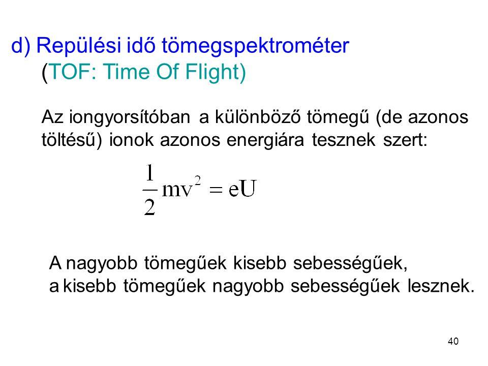 d) Repülési idő tömegspektrométer (TOF: Time Of Flight) Az iongyorsítóban a különböző tömegű (de azonos töltésű) ionok azonos energiára tesznek szert: A nagyobb tömegűek kisebb sebességűek, a kisebb tömegűek nagyobb sebességűek lesznek.