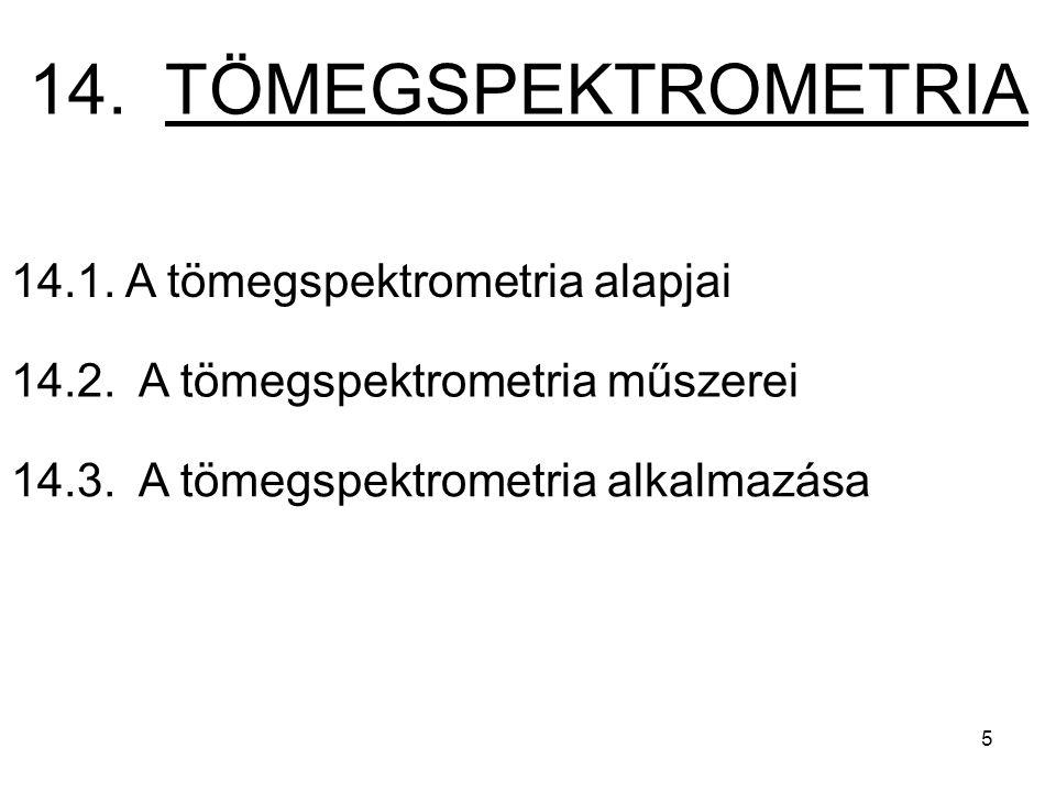 14.1. A tömegspektrometria alapjai 14.2. A tömegspektrometria műszerei 14.3.