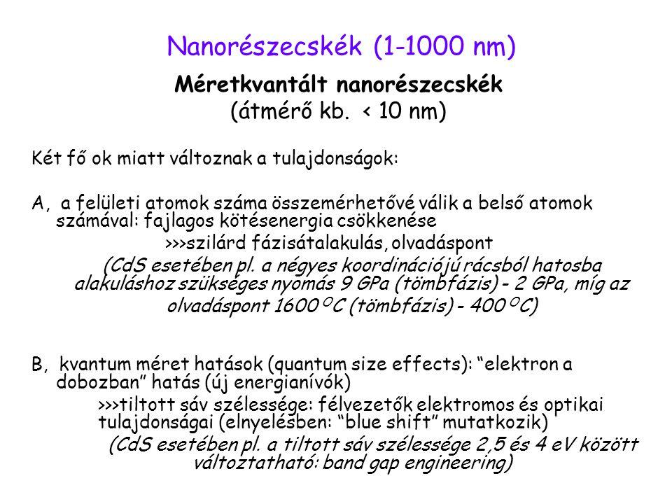 Nanorészecskék (1-1000 nm) Méretkvantált nanorészecskék (átmérő kb. < 10 nm) Két fő ok miatt változnak a tulajdonságok: A, a felületi atomok száma öss