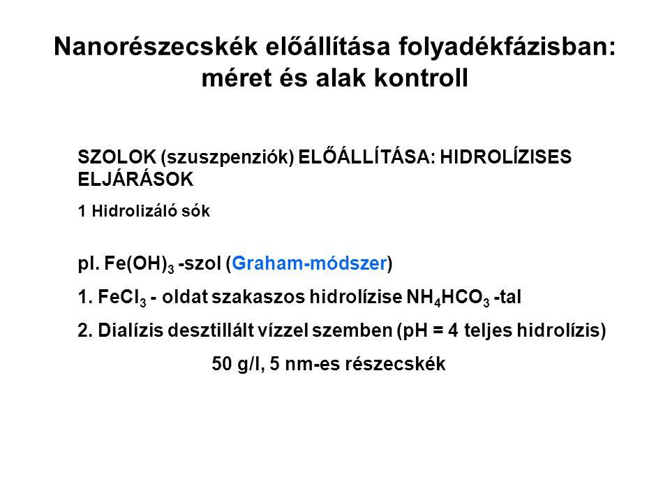 SZOLOK (szuszpenziók) ELŐÁLLÍTÁSA: HIDROLÍZISES ELJÁRÁSOK 1 Hidrolizáló sók pl. Fe(OH) 3 -szol (Graham-módszer) 1. FeCl 3 - oldat szakaszos hidrolízis