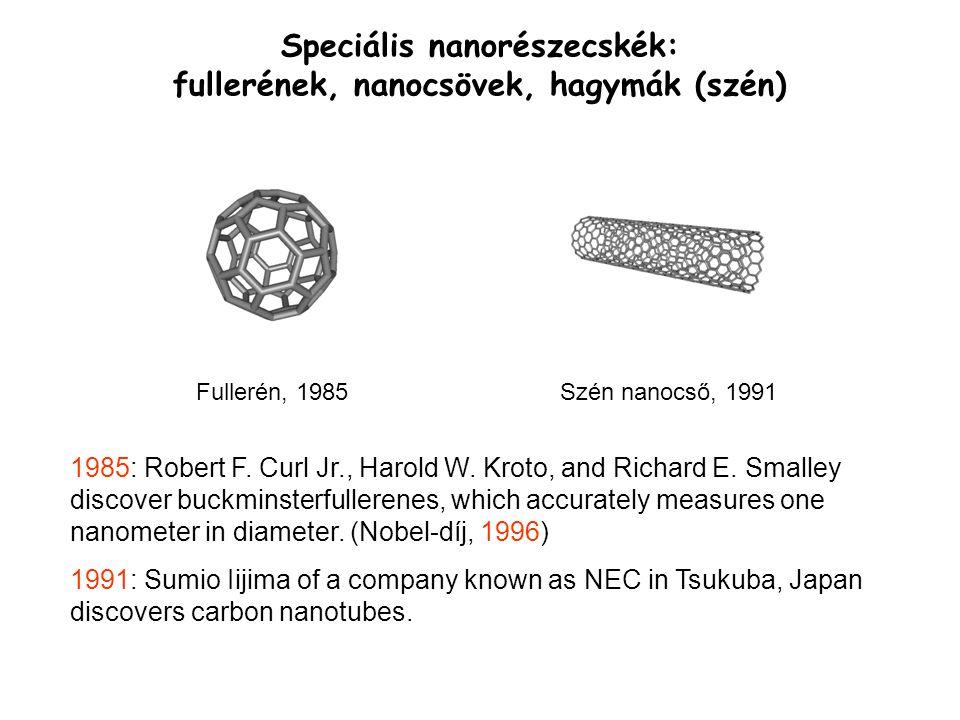 Speciális nanorészecskék: fullerének, nanocsövek, hagymák (szén) 1985: Robert F. Curl Jr., Harold W. Kroto, and Richard E. Smalley discover buckminste