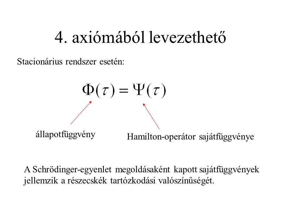 4. axiómából levezethető Stacionárius rendszer esetén: állapotfüggvény Hamilton-operátor sajátfüggvénye A Schrödinger-egyenlet megoldásaként kapott sa