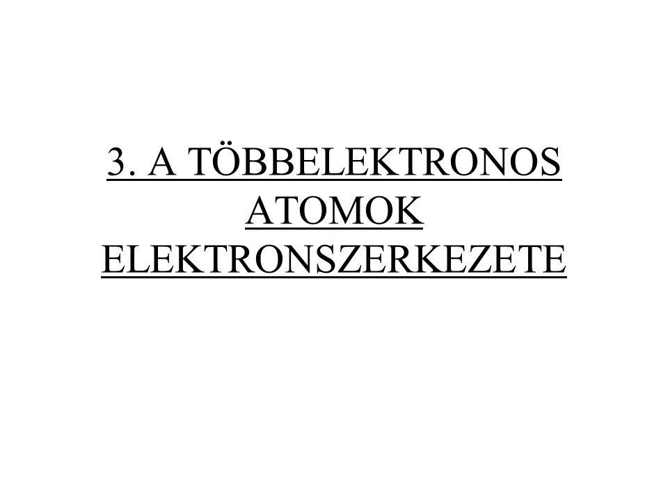 L csoport-mellékkvantumszám Zárt héjakra : L = 0 Nyílt héjakra : 1 db elektron: 2 db elektron: 2-nél több elektron: még bonyolultabb