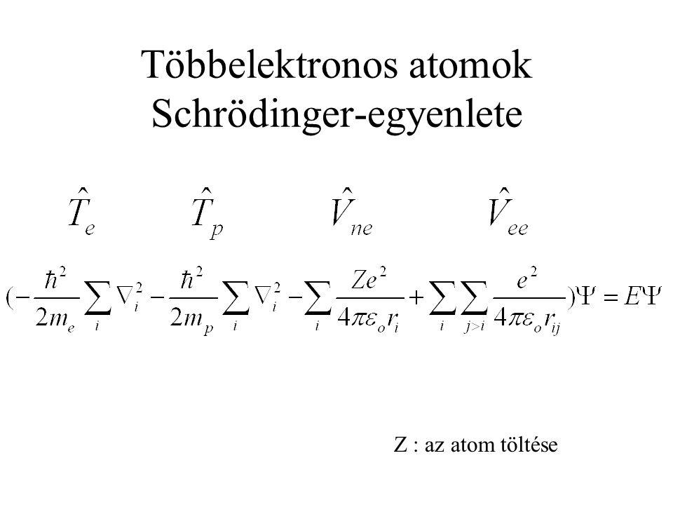 Többelektronos atomok Schrödinger-egyenlete Z : az atom töltése