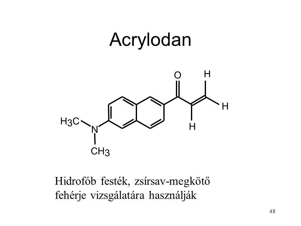 48 Acrylodan N O H H H H 3 C CH 3 Hidrofób festék, zsírsav-megkötő fehérje vizsgálatára használják