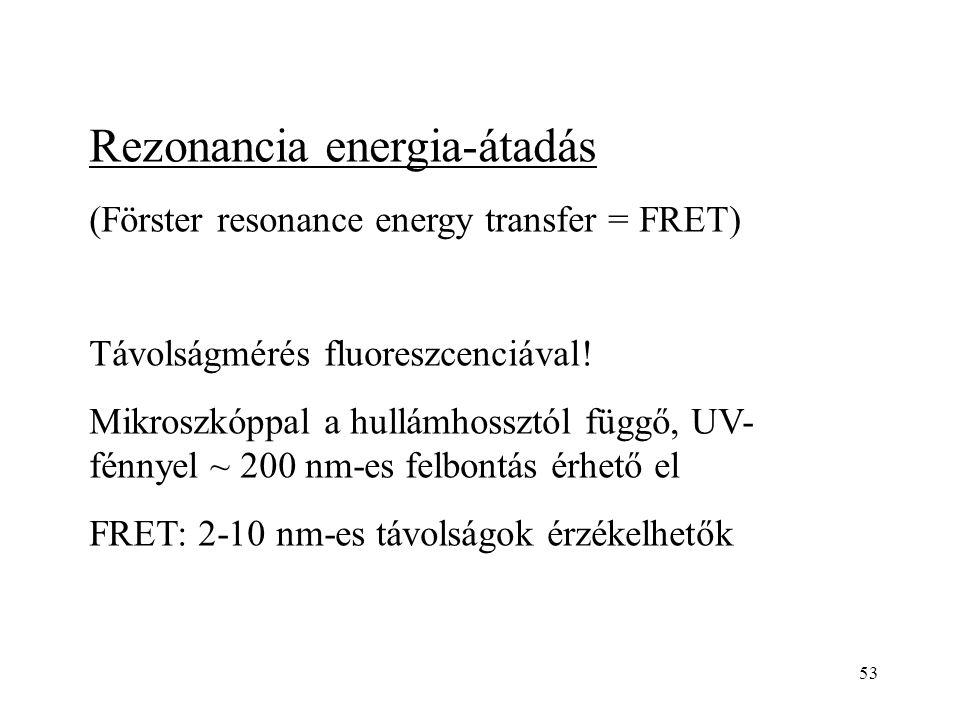 53 Rezonancia energia-átadás (Förster resonance energy transfer = FRET) Távolságmérés fluoreszcenciával! Mikroszkóppal a hullámhossztól függő, UV- fén